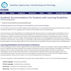 Accomodations for Learning Disabilities